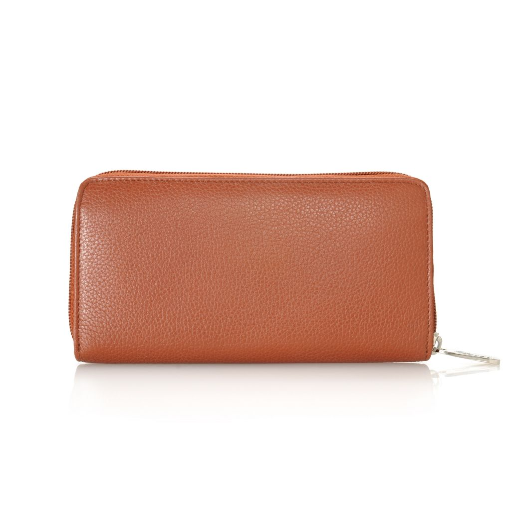 713-339 - Buxton® Leather Zip Around Wallet w/ Identity Protect Lining