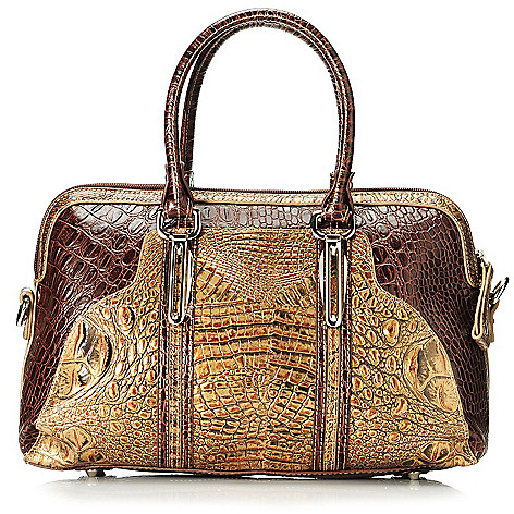 713-364 - Madi Claire Croco Embossed Leather Two-tone Dome Satchel w/ Shoulder Strap
