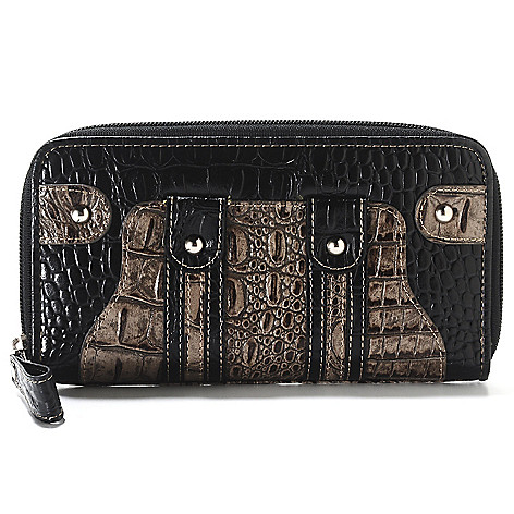 713-367 - Madi Claire Croco Embossed Two-tone Leather Zip Around Wallet