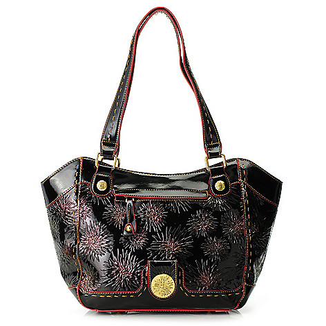 713-370 - Madi Claire Floral Embossed Leather Medallion Double Handle Tote Bag