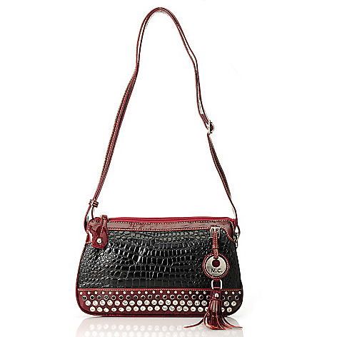 713-373 - Madi Claire Embossed Leather Embellished Multi Compartment Cross Body Bag
