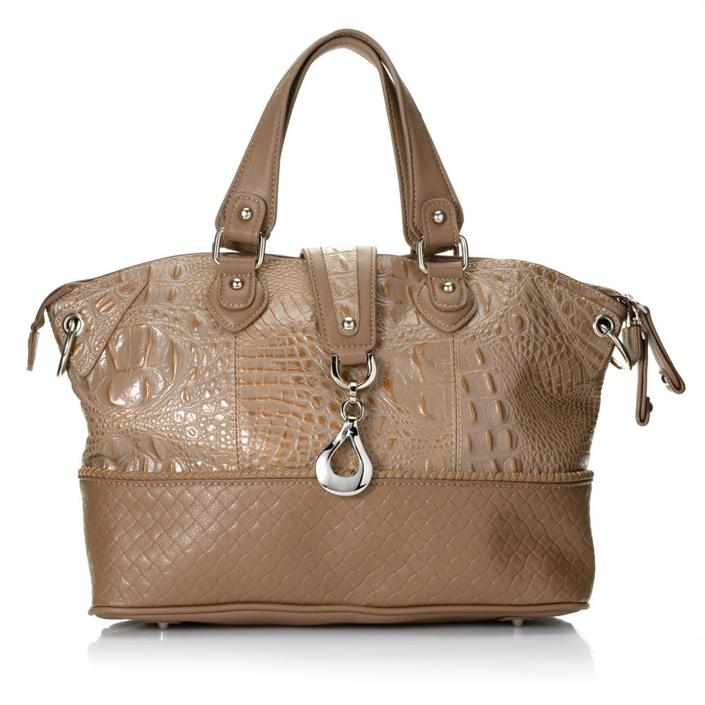 713-376 - Madi Claire Croco & Woven Embossed Leather Double Handle Satchel w/ Strap