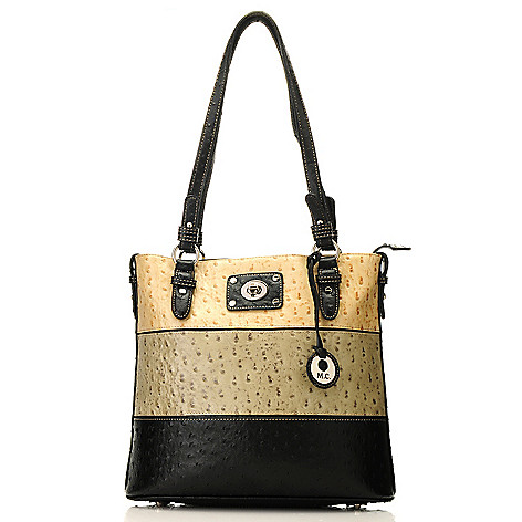 713-377 - Madi Claire Embossed Leather Tri-Color Zip Top Double Handle Tote Bag