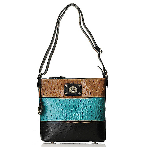 713-379 - Madi Claire Embossed Leather Tri-Color Zip Top Cross Body Bag
