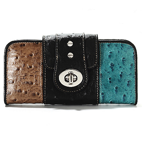 713-380 - Madi Claire Embossed Leather Tri Color Turnlock Wallet