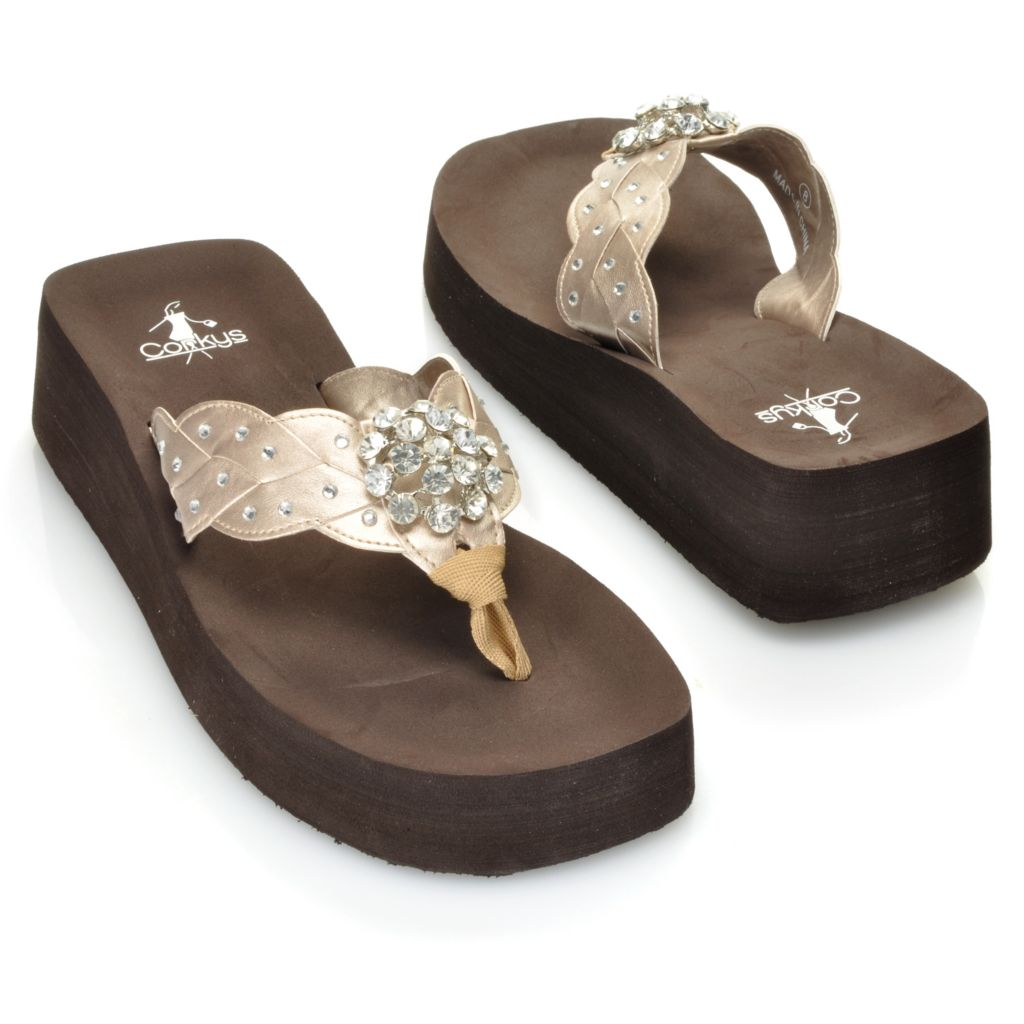 "713-381 - Corkys ""Cutie Pie"" Rhinestone & Concho Detailed Thong Sandals"