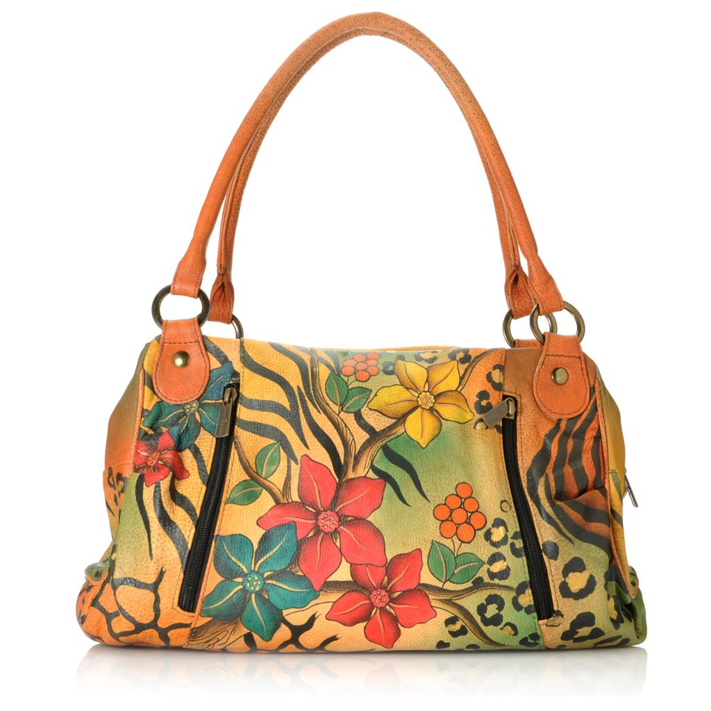713-384 - Anuschka Hand-Painted Leather Ruched Large Satchel w/ Credit Card Wallet