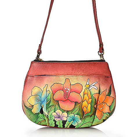 713-385 - Anuschka Hand-Painted Leather Multi Compartment Small Cross Body Bag