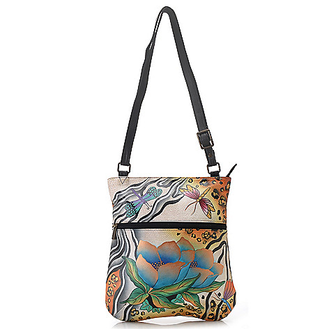713-386 - Anuschka Hand-Painted Leather Slim Cross Body Bag
