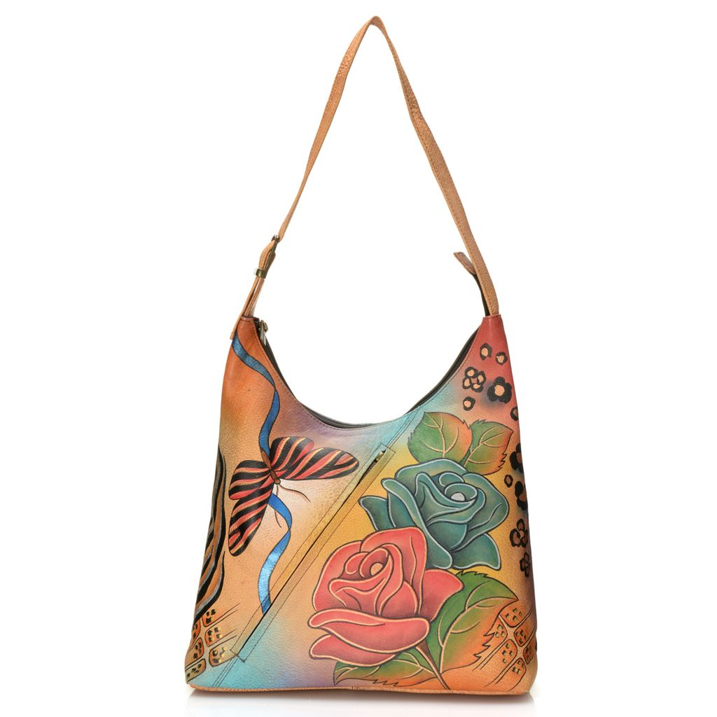 713-389 - Anuschka Hand-Painted Leather Medium Hobo Handbag