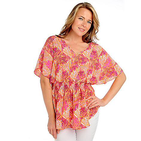 713-394 - Kate & Mallory® Printed Crepe Dolman Sleeved V-BackTop