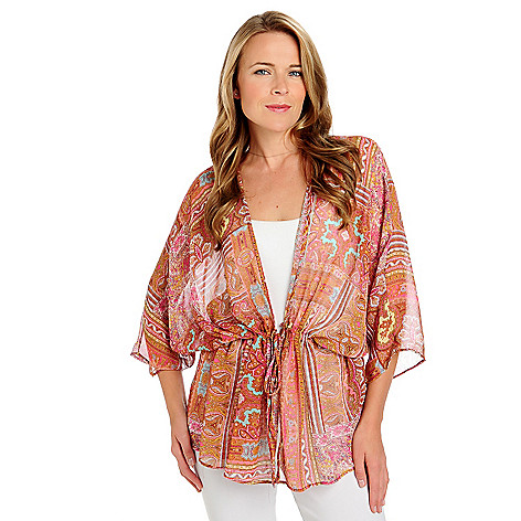 713-395 - Kate & Mallory Printed Chiffon Dolman Sleeved Tie-Closure Sheer Cardigan