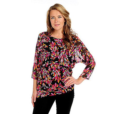 713-396 - Kate & Mallory Printed Yoryu Dolman Sleeved Asymmetrical Hem Side Ruched Tunic