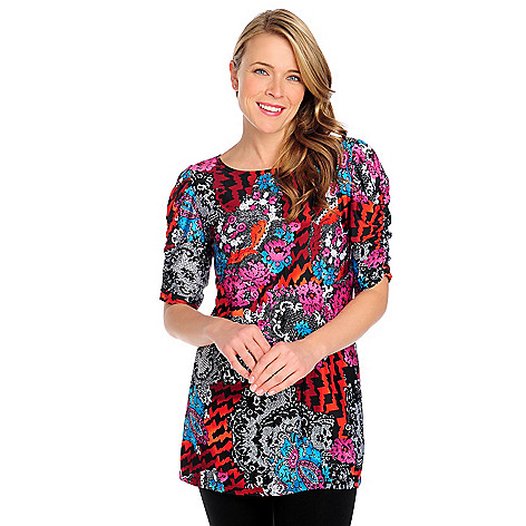 713-400 - Kate & Mallory Stretch Knit Ruched Sleeve Printed Tunic