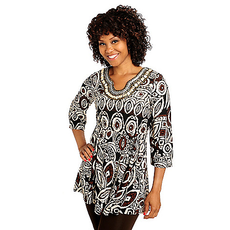 713-401 - Kate & Mallory Stretch Knit Bell Sleeved Beaded Neckline Empire Waist Tunic