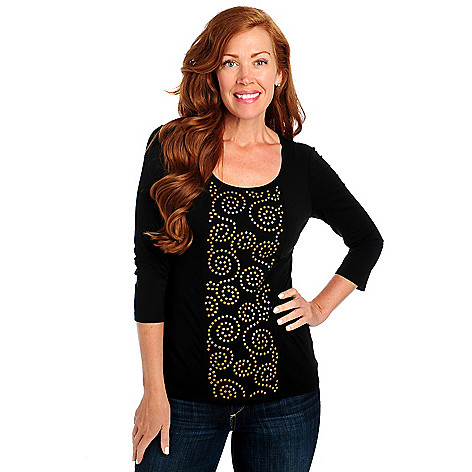 713-402 - Glitterscape Stretch Knit 3/4 Sleeved Studded Front Scoop Neck Top