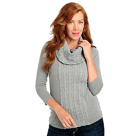 713-405 - OSO Casuals Stretch Knit 3/4 Sleeved Cable Front & Cowl Neck Top