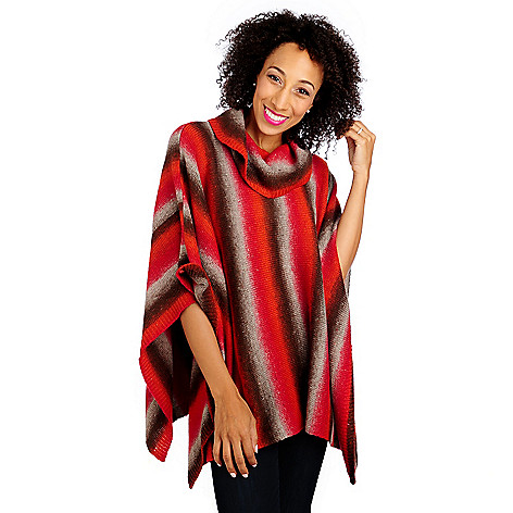 713-406 - OSO Casuals Ombre Knit Cowl Neck Poncho Sweater