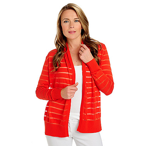 713-407 - Kate & Mallory® Sweater Knit Long Sleeved Sheer Striped Shawl Cardigan