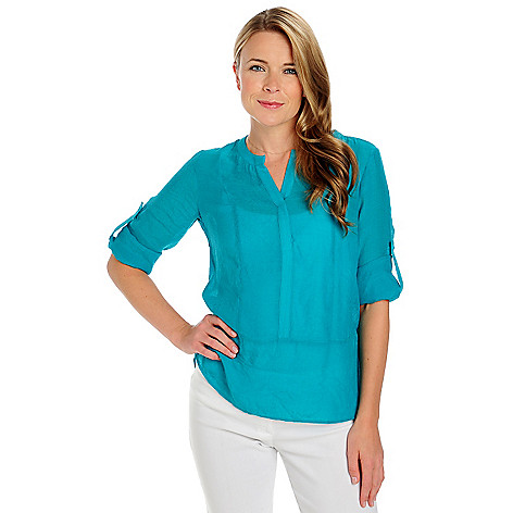 713-408 - Kate & Mallory Woven Roll Tab Sleeved Notch Neck Tunic