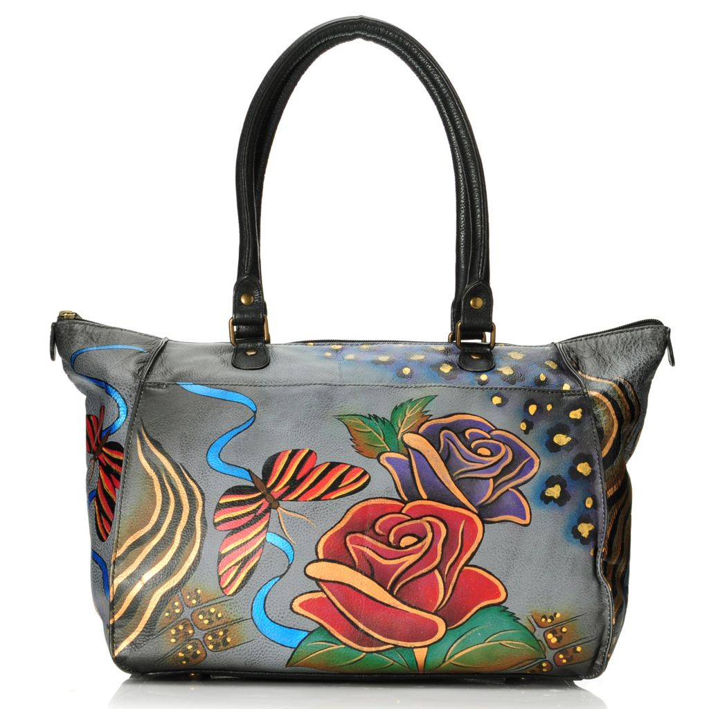 713-410 - Anuschka Hand-Painted Leather Double Handle Tote Bag w/ Adjustable Strap
