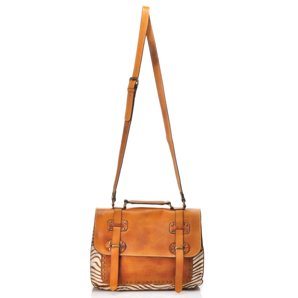 713-424 - Patricia Nash Leather & Calf Hair Flap Over Messenger Bag
