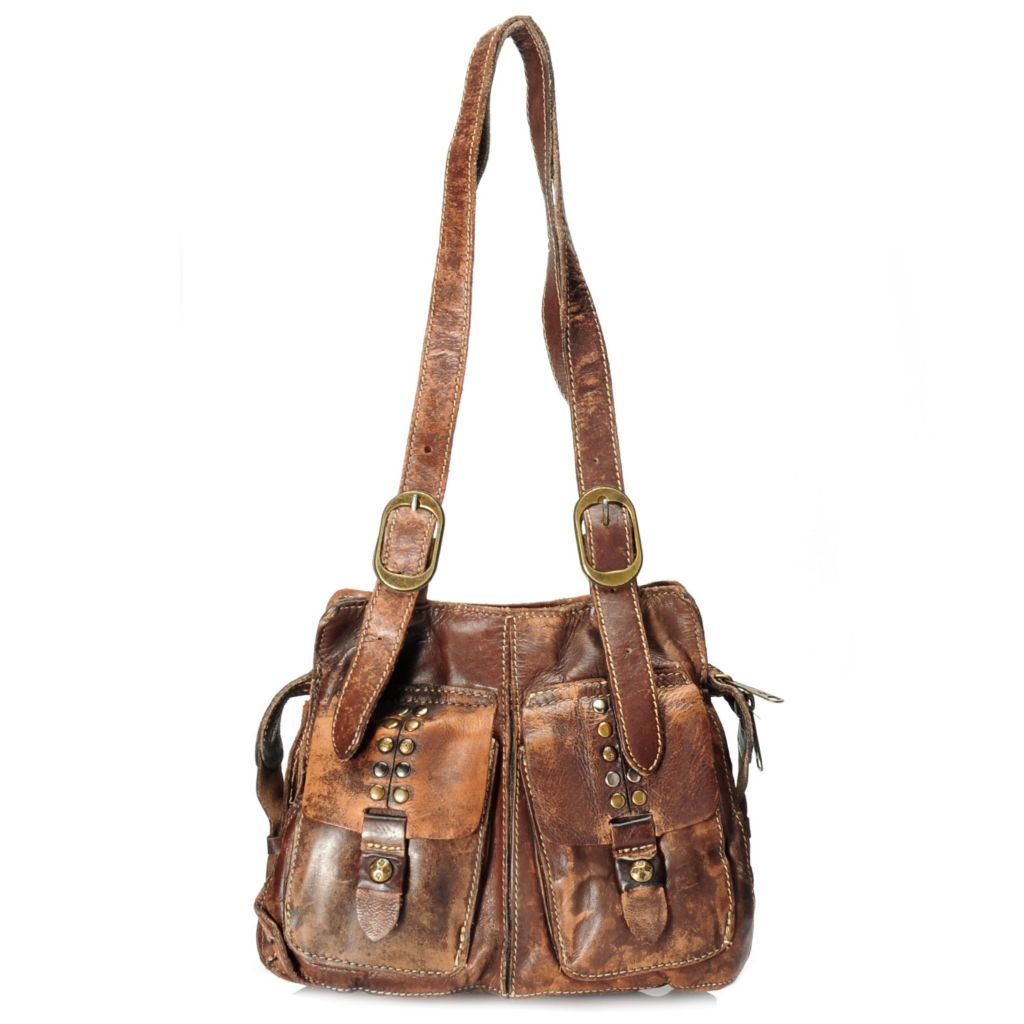 713-428 - Patricia Nash Distressed Leather Multi Compartment Double Handle Zip Top Satchel