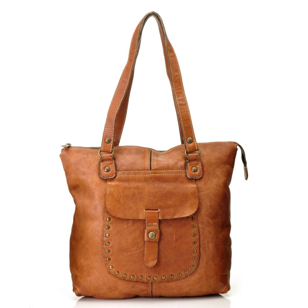 713-430 - Patricia Nash Distressed Leather Double Handle Zip Top Tote Bag