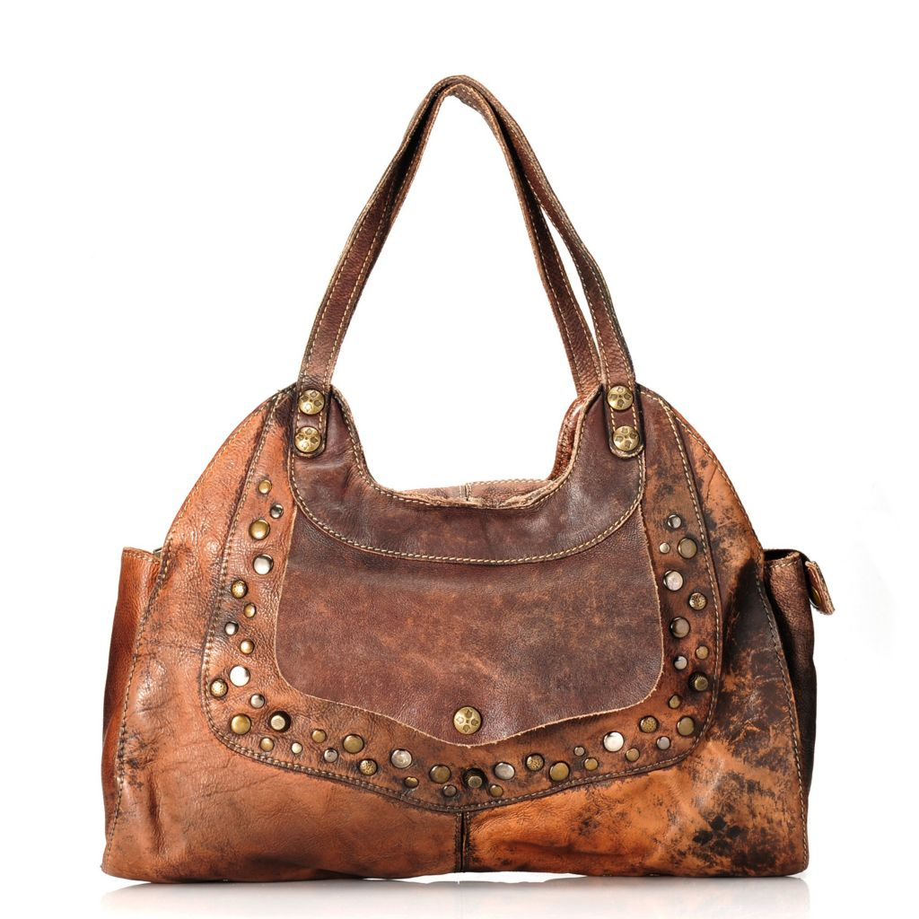 713-431 - Patricia Nash Distressed Leather Double Handle Studded Satchel