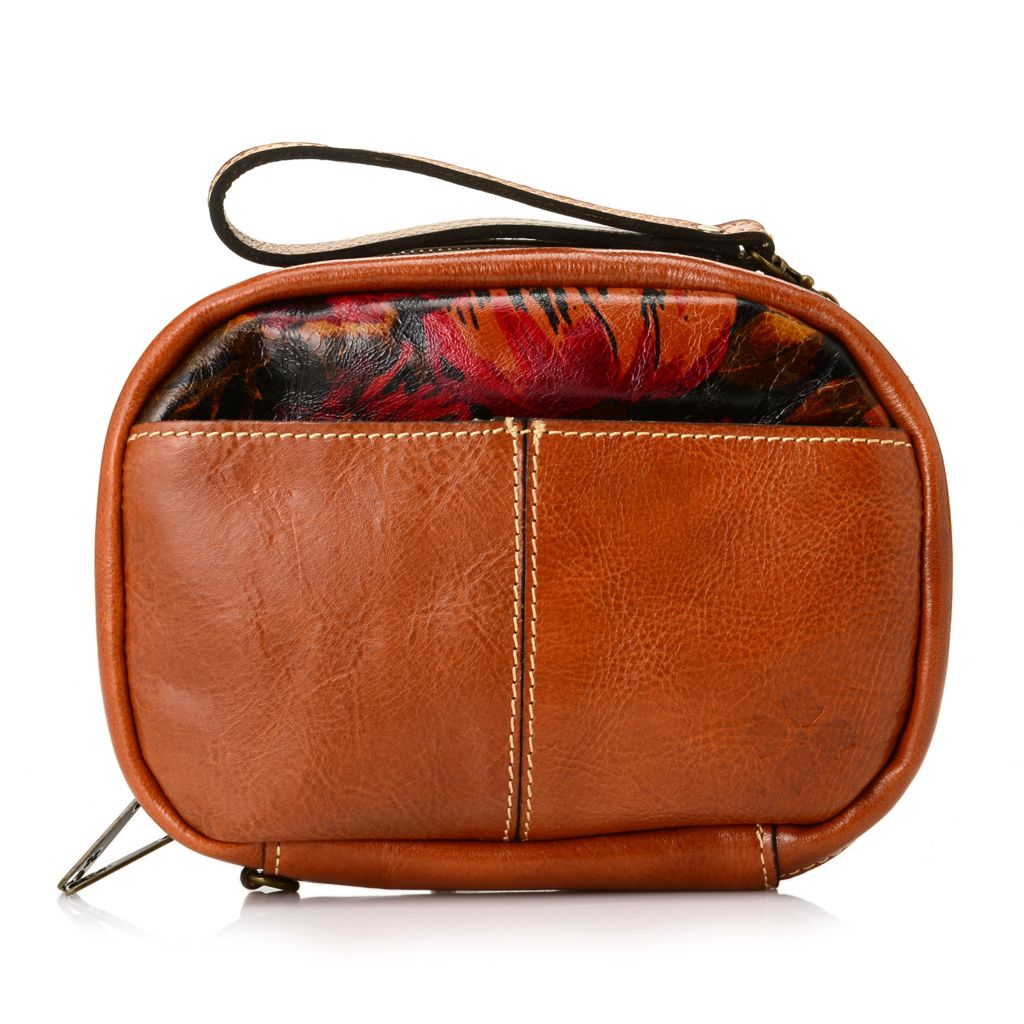713-439 - Patricia Nash Leather Zip Around Cross Body Bag w/ Wrist Strap & Two Zipper Pouches