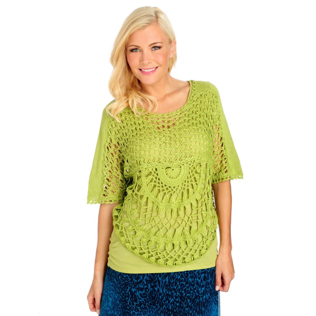 713-441 - One World Crochet Dolman Sleeved Scoop Neck Pullover Top
