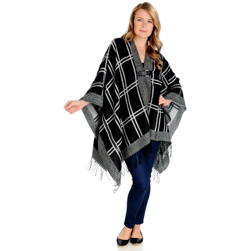 713-445 - Accessory Street Woven Acrylic Fringe Detailed Buckle Closure Plaid Ruana Poncho
