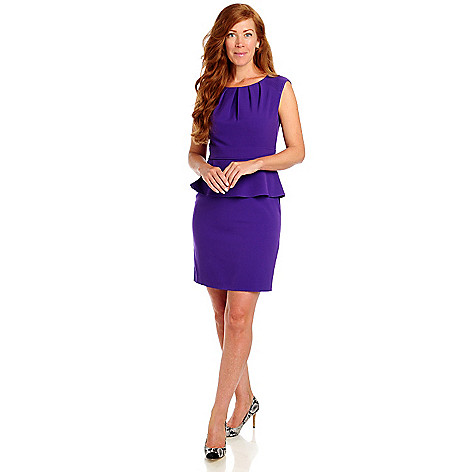 713-459 - Kate & Mallory Stretch Woven Sleeveless Pleated Neckline Peplum Dress