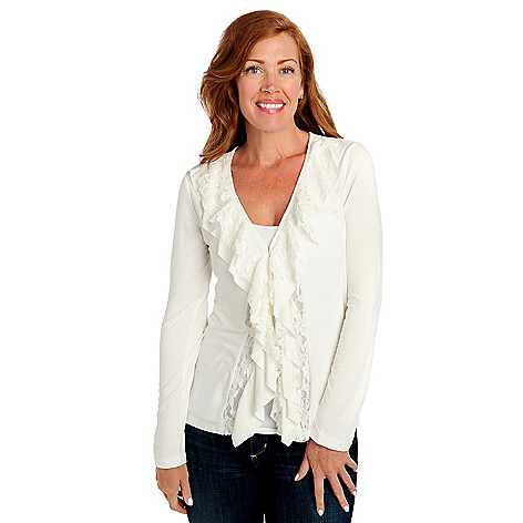 713-461 - Kate & Mallory Stretch Knit Long Sleeved Lace Ruffle Front Cardigan