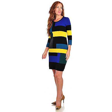 713-464 - Kate & Mallory® Stretch Knit 3/4 Sleeved Color Block Sweater Dress