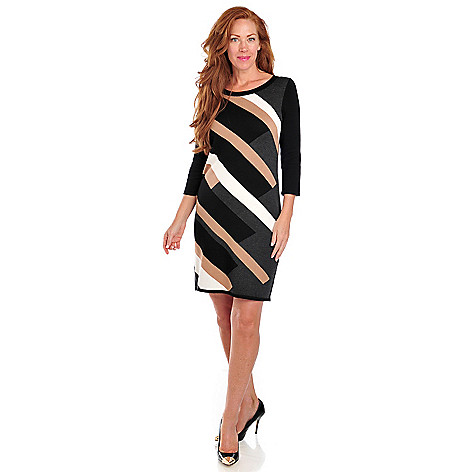 713-465 - Kate & Mallory Stretch Knit 3/4 Sleeved Diagonal Striped Sweater Dress