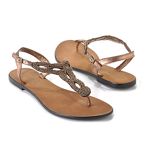 713-494 - Matisse® Leather ''Pino'' Beaded Twist Design Thong Sandals