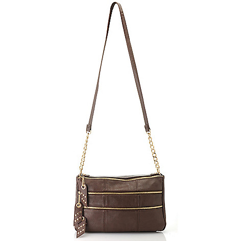 713-504 - LaTique Zipper & Chain Detailed Multi Compartment Cross Body Bag