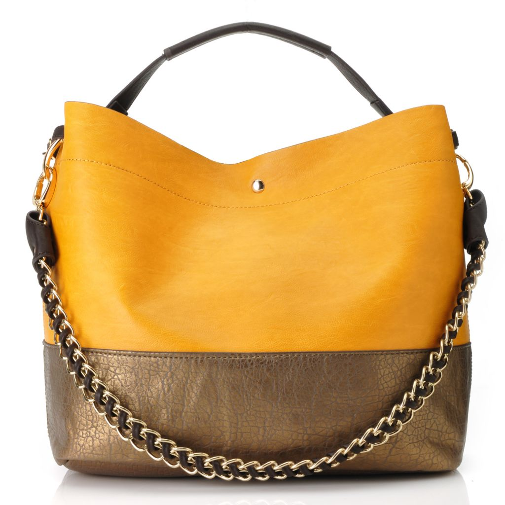 713-505 - LaTique Matte & Metallic Color Block Chain Detailed Large Tote Bag