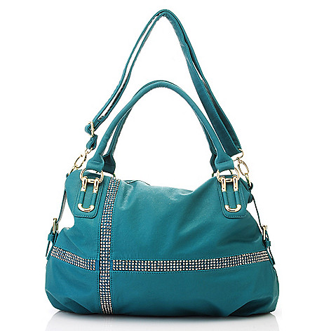 713-510 - LaTique Rhinestone Embellished Double Handle Zip Top Satchel