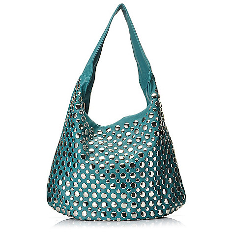 713-514 - LaTique Round Studded Zip Top Hobo Handbag