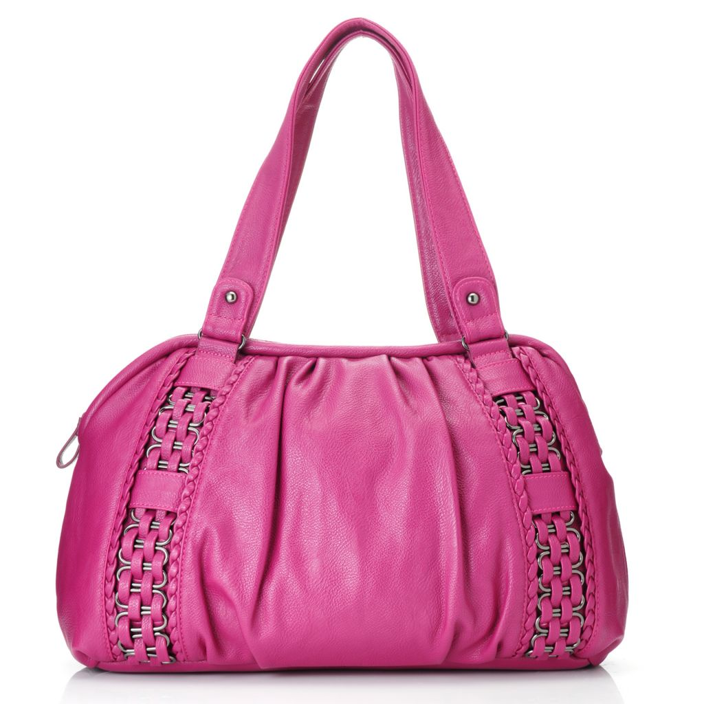 713-516 - LaTique Zip Top Double Handle Woven & Ruched Satchel