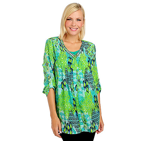 713-519 - Kate & Mallory® Printed Woven Roll Tab Sleeve Embellished Tunic Blouse