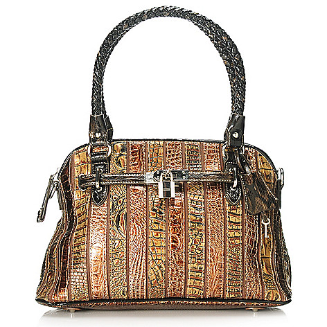 713-568 - Madi Claire Croco Embossed Leather Double Woven Handle Dome Satchel