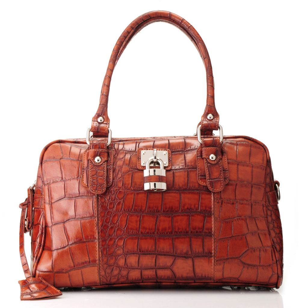 713-570 - Madi Claire Croco Embossed Leather Zip Top Satchel w/ Shoulder Strap