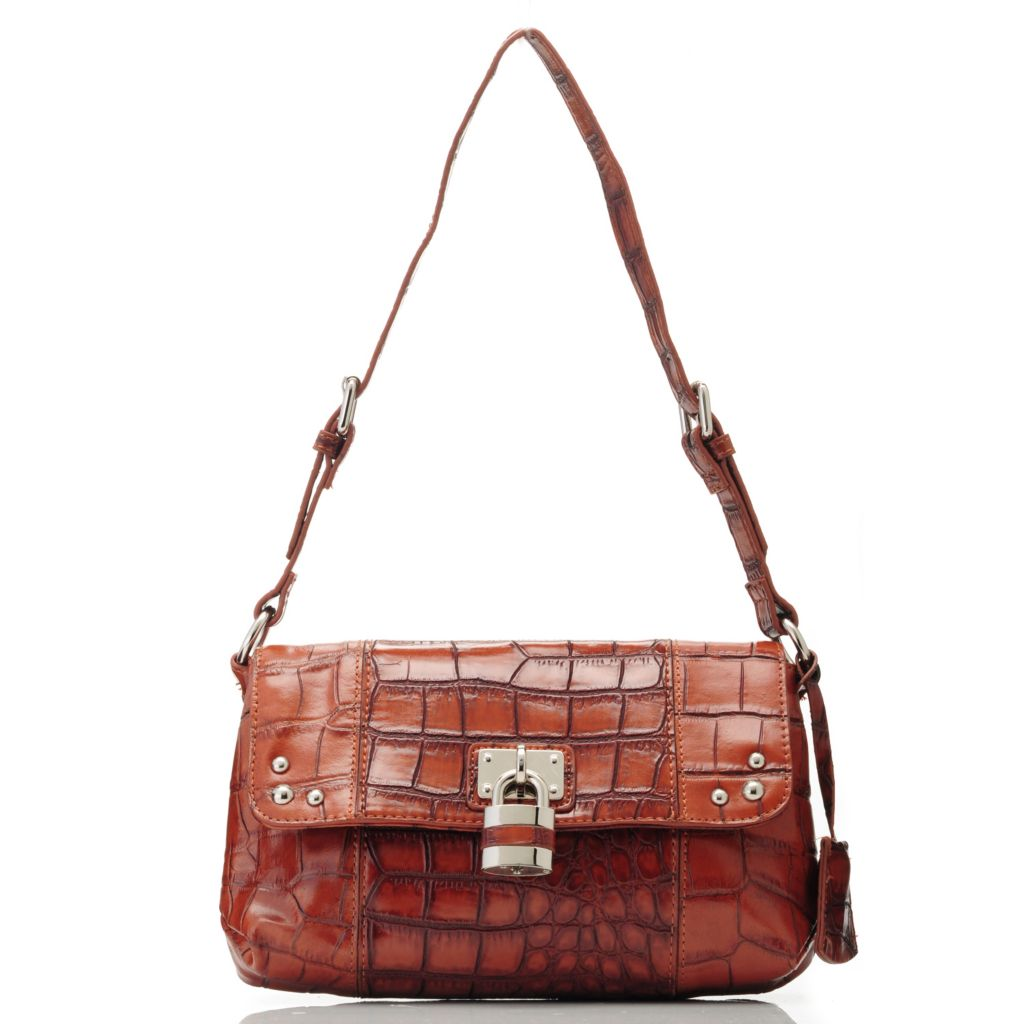 713-571 - Madi Claire Croco Embossed Leather Flap Over Shoulder Bag