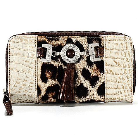 713-574 - Madi Claire Crocodile Embossed & Cheetah Print Zip Around Tasseled Wallet