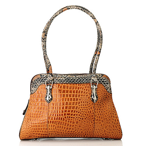 713-578 - Madi Claire ''Whitney'' Croco Embossed Leather & Snake Print Double Handle Dome Satchel