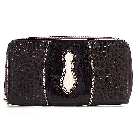 713-579 - Madi Claire Crocodile Embossed & Snake Print Zip-around Wallet