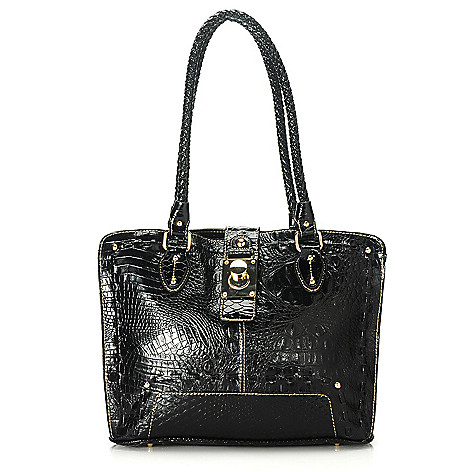 713-580 - Madi Claire Croco Embossed Leather & Snake Print Twist Lock Tote Bag